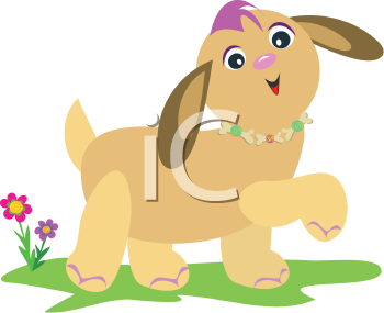 Royalty Free Clipart Image of a Cartoon Puppy