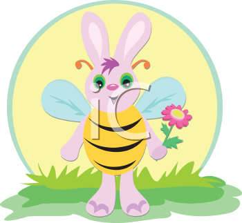 Royalty Free Clipart Image of a Rabbit in a Bee Costume