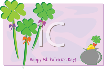 Royalty Free Clipart Image of Shamrocks and a Pot of Gold Happy St. Patrick's Day Greeting