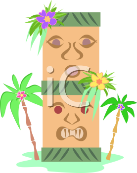 Royalty Free Clipart Image of a Tiki Totem Pole Surrounded by Palm Trees