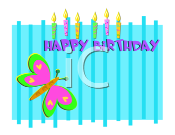 Royalty Free Clipart Image of a Happy Birthday Message With Candles and a Butterly