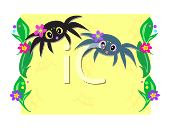 Royalty Free Clipart Image of Two Spiders With Plants Up the Side