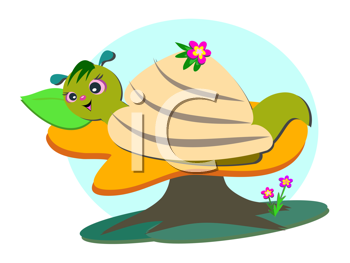 Royalty Free Clipart Image of a Snail Resting on a Leaf