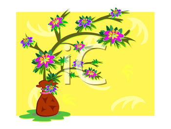 Royalty Free Clipart Image of a Flower Tree