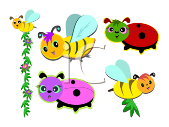 Royalty Free Clipart Image of Bugs