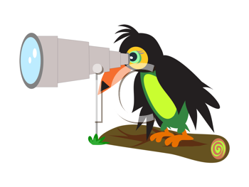 Royalty Free Clipart Image of a Toucan With a Telescope