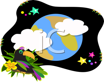 Royalty Free Clipart Image of the Earth and a Toucan