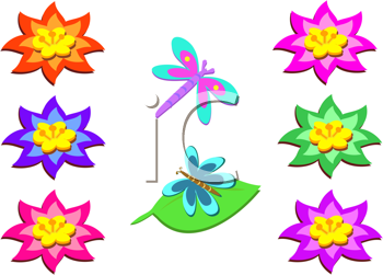 Royalty Free Clipart Image of Flowers and Bugs
