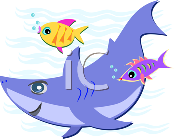 Royalty Free Clipart Image of a Shark and Fish