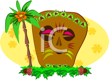 Royalty Free Clipart Image of a Tiki Beside a Palm Tree