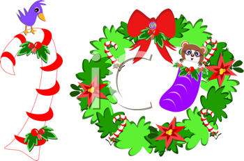 Royalty Free Clipart Image of a Christmas Wreach and Candy Cane