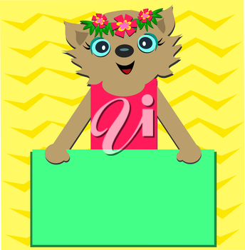 Royalty Free Clipart Image of a Cat Holding a Blank Sign