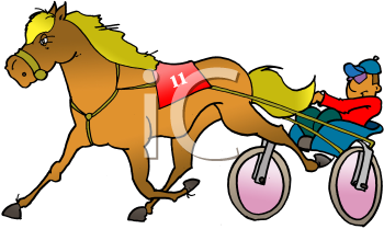 Royalty Free Clipart Image of a Horse and Buggy