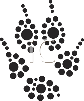 Royalty Free Clipart Image of an Animal Paw Print
