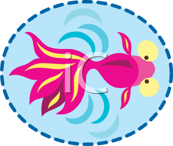 Royalty Free Clipart Image of a Fish Swimming in a Pond