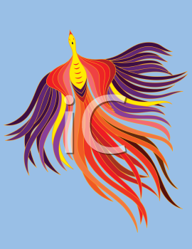 Royalty Free Clipart Image of a Phoenix Flying