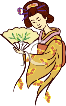 Royalty Free Clipart Image of a Geisha Holding a Fan
