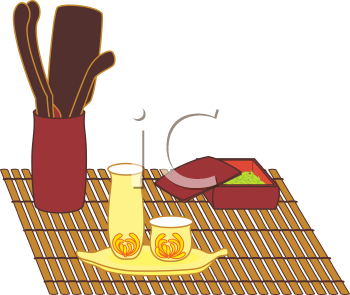 Royalty Free Clipart Image of a Tea Set on a Bamboo Mat