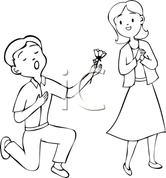 Royalty Free Clipart Image of a Boy Giving a Girl a Flower