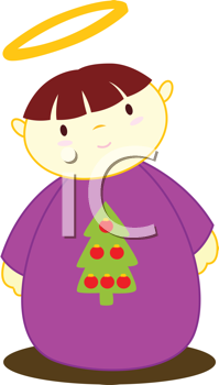 Royalty Free Clipart Image of an Angel With a Christmas Tree on Its Robe