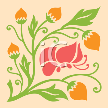 Royalty Free Clipart Image of a Floral Design With a Butterfly