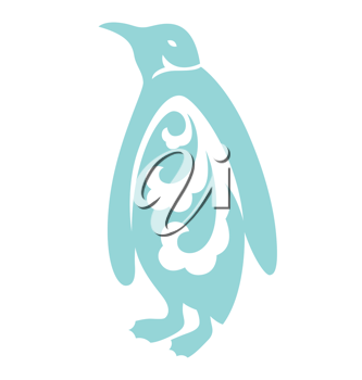 Royalty Free Clipart Image of a Penguin With a Flourish