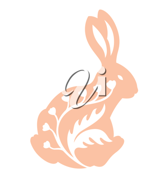 Royalty Free Clipart Image of a Rabbit With a Flourish