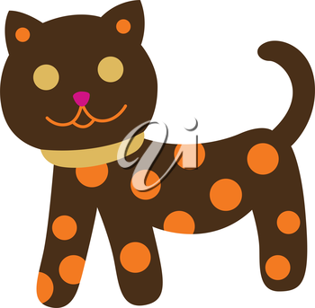 Royalty Free Clipart Image of a Spotted Cat