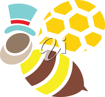 Royalty Free Clipart Image of a Bee in a Top Hat