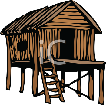 Royalty Free Clipart Image of an Outline of a Thatched House