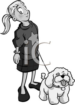 Royalty Free Clipart Image of a Little Girl and Her Dog
