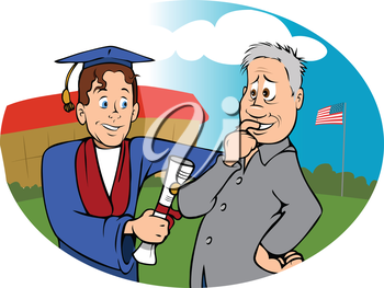 Royalty Free Clipart Image of a Father and Son at Graduation