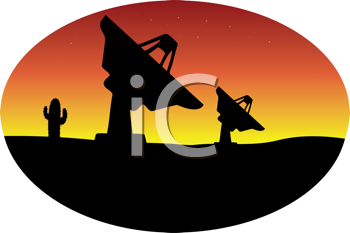 Royalty Free Clipart Image of Satellite Dishes in the Desert