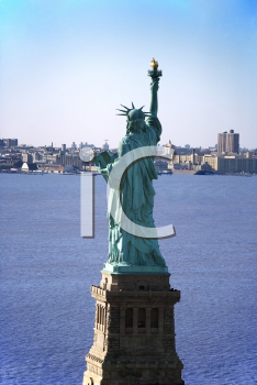 Royalty Free Photo of an Aerial View of Statue of Liberty