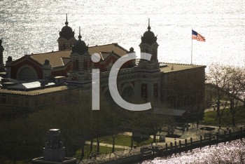 Royalty Free Photo of an Aerial View of Ellis Island, New York City