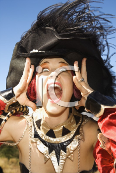 Royalty Free Photo of Close-up of a Young Female Dressed in a Pirate Costume