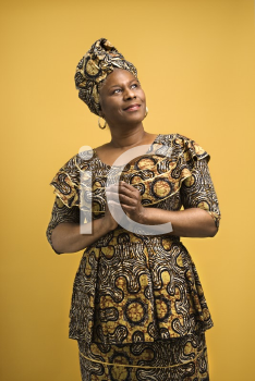 Royalty Free Photo of an African American Female in an African Dress