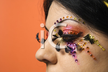 Royalty Free Photo of a Close-up of a Woman in Unique Makeup