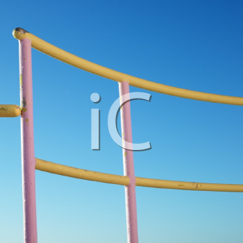 Royalty Free Photo of Pink and Yellow Painted Railings of a Lifeguard Tower on a Beach in Miami, Florida, USA