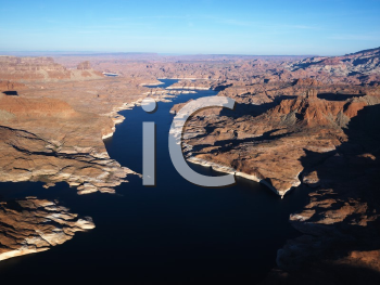 Royalty Free Photo of an Aerial View of Lake Powell and Glen Canyon