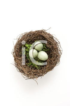 Royalty Free Photo of a Still Life of a Bird's Nest With Three Speckled Eggs