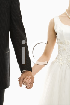 Royalty Free Photo of a Groom and Bride Holding Hands