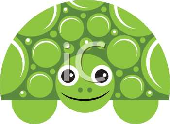 Royalty Free Clipart Image of a Smiling Turtle
