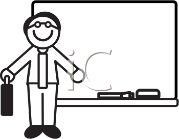 Royalty Free Clipart Image of a Teacher and a Whiteboard