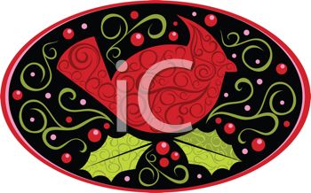 Royalty Free Clipart Image of A Cardinal With Holly And Ivy In An Oval Frame