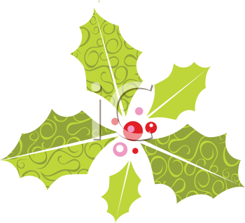 Royalty Free Clipart Image of a Holly Sprig