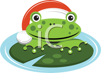 Royalty Free Clipart Image of a Frog Wearing a Santa Hat