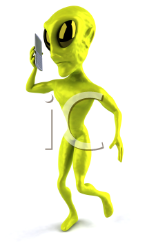 Royalty Free Clipart Image of an Alien Talking on a Cellphone