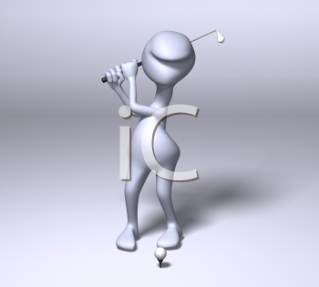 Royalty Free 3d Clipart Image of a Character Golfing