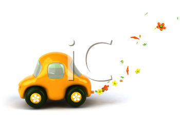Royalty Free 3d Clipart Image of a Flower Car